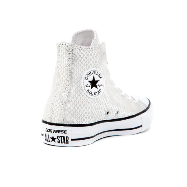 Bamba Converse Chuck Taylor All Star Metallic Scaled Leather Silver Black White