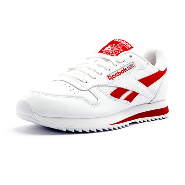 Sneaker Reebok Classic Leather Ripple Low BR White Excellent Red