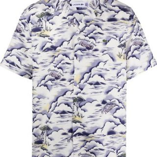 Camisa Lacoste Hawaiana Blue Pale Pink White