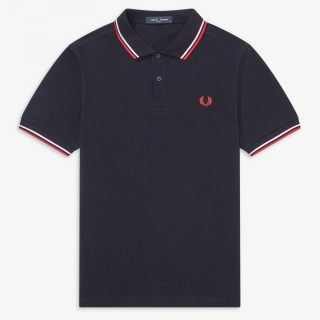 Polo Fred Perry Shirt Navy White Red