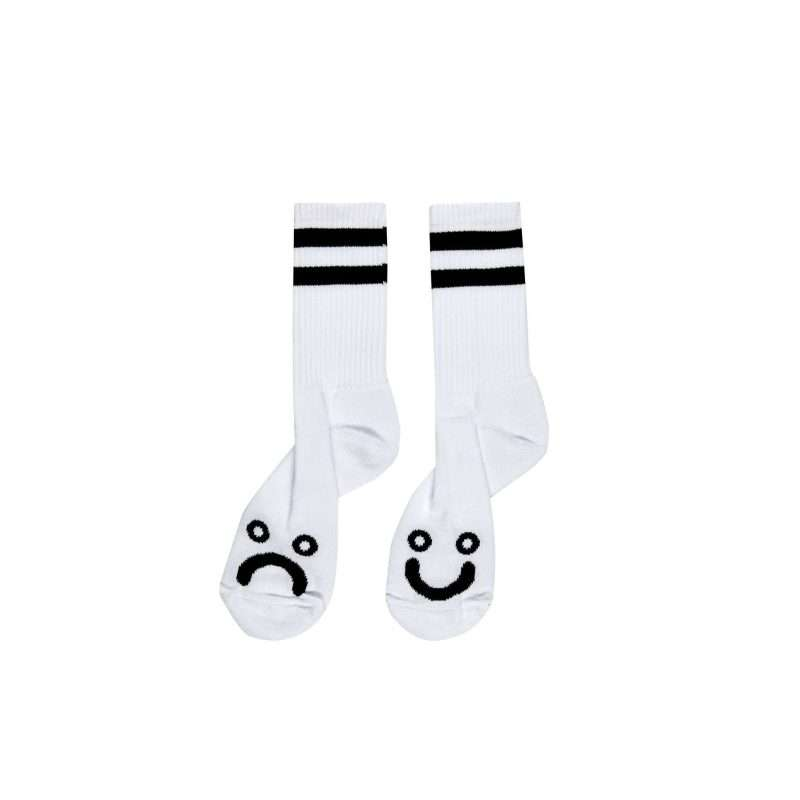 Polar Skate Co Happy Sad Socks White