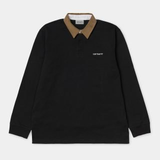 Polo Carhartt WIP LS Cord Rugby Polo Black Hamilton Brown White I028289