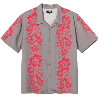 Boxy Shirt Stussy Hawaiian Pattern Shirt Grey
