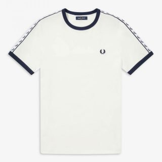 Camiseta Fred Perry Taped Ringer T-Shirt Snow White Carbon Blue