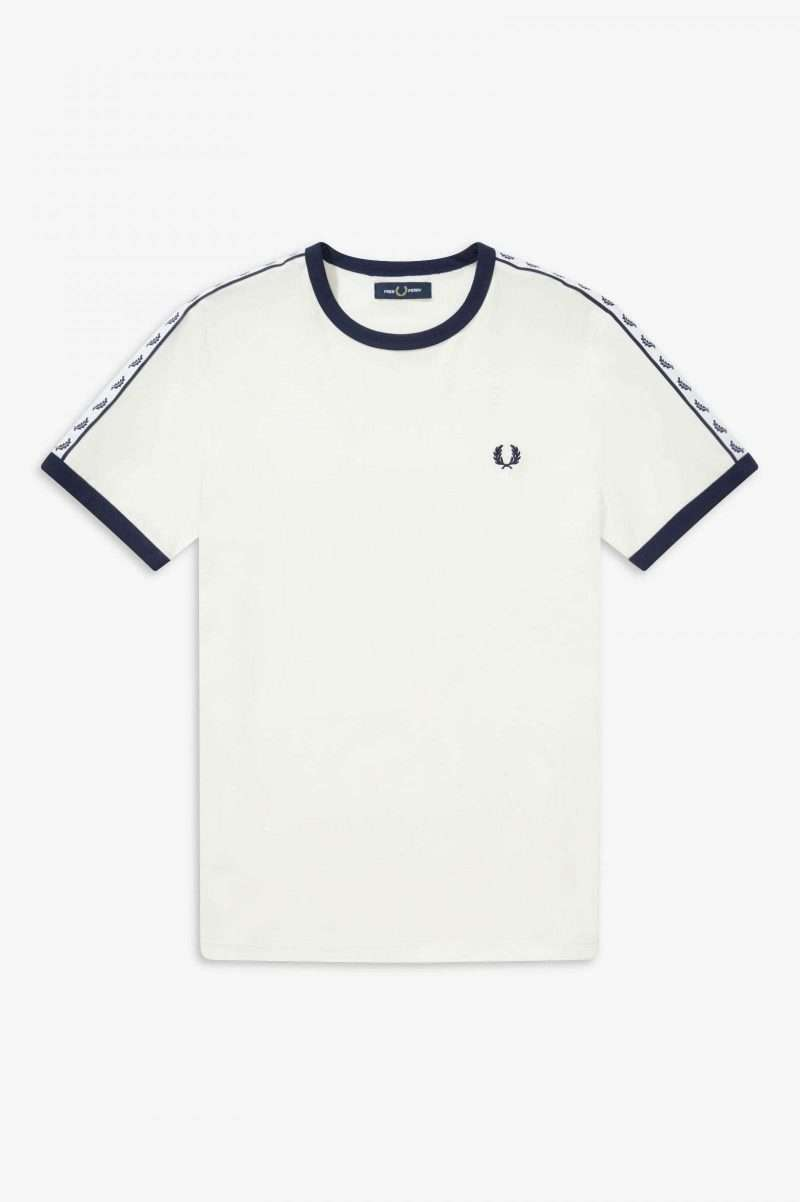 Tee Shirt Fred Perry Taped Ringer T-Shirt Snow White Carbon Blue