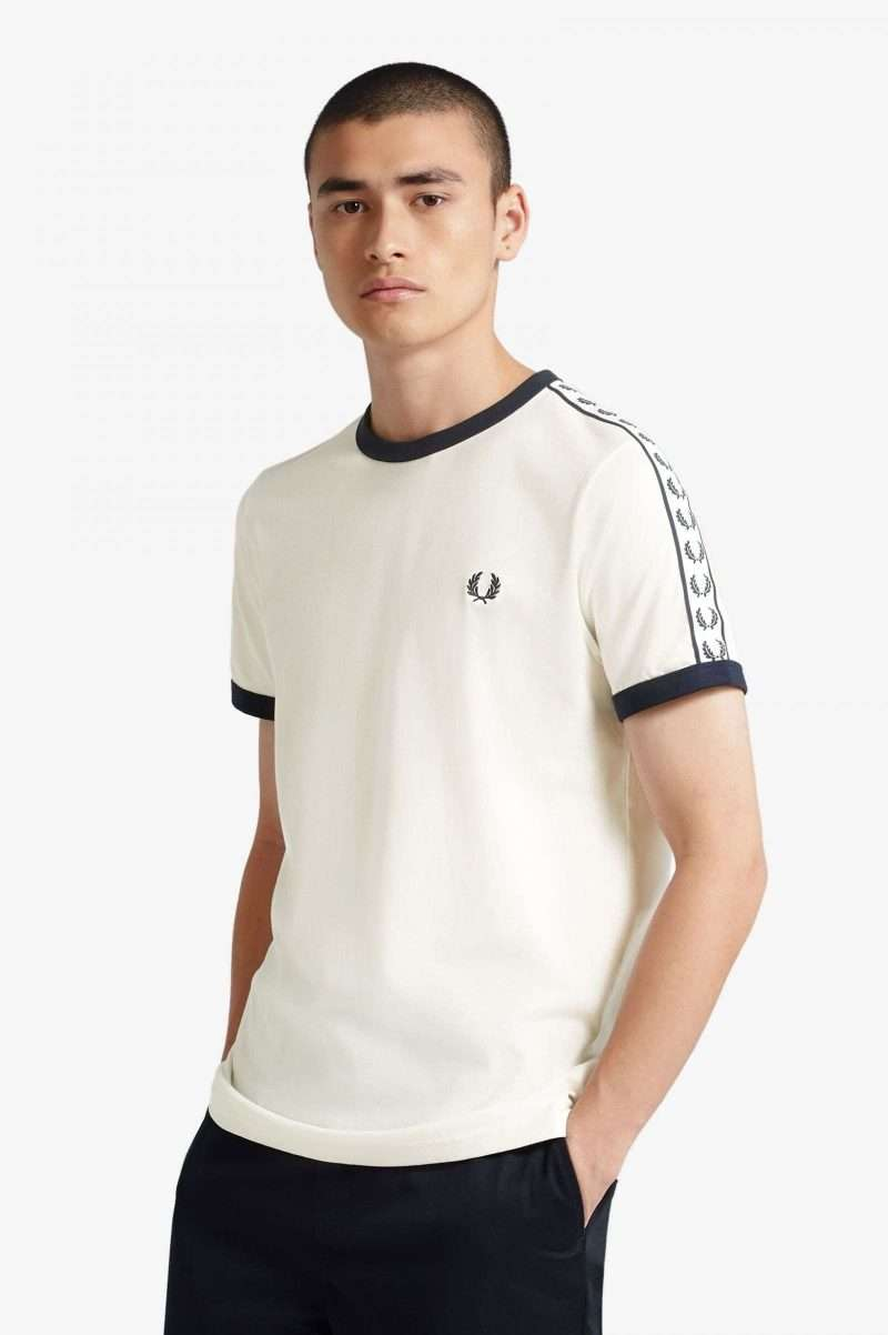 Tee Fred Perry Taped Ringer T-Shirt Snow White Carbon Blue