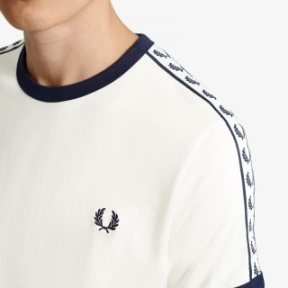 Camiseta Fred Perry Taped Ringer T-Shirt Snow White Carbon Blue M6347