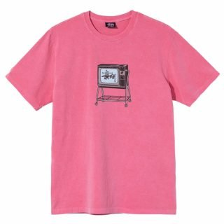 Camiseta Stussy Rolling TV Pigment Dyed Tee Pink