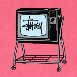 Tee Shirt Stussy Rolling TV Pigment Dyed Tee Pink