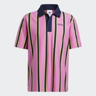 Polo Adidas Originals Polo Stripe Screaming Pink Acid Yellow Collegiate Navy