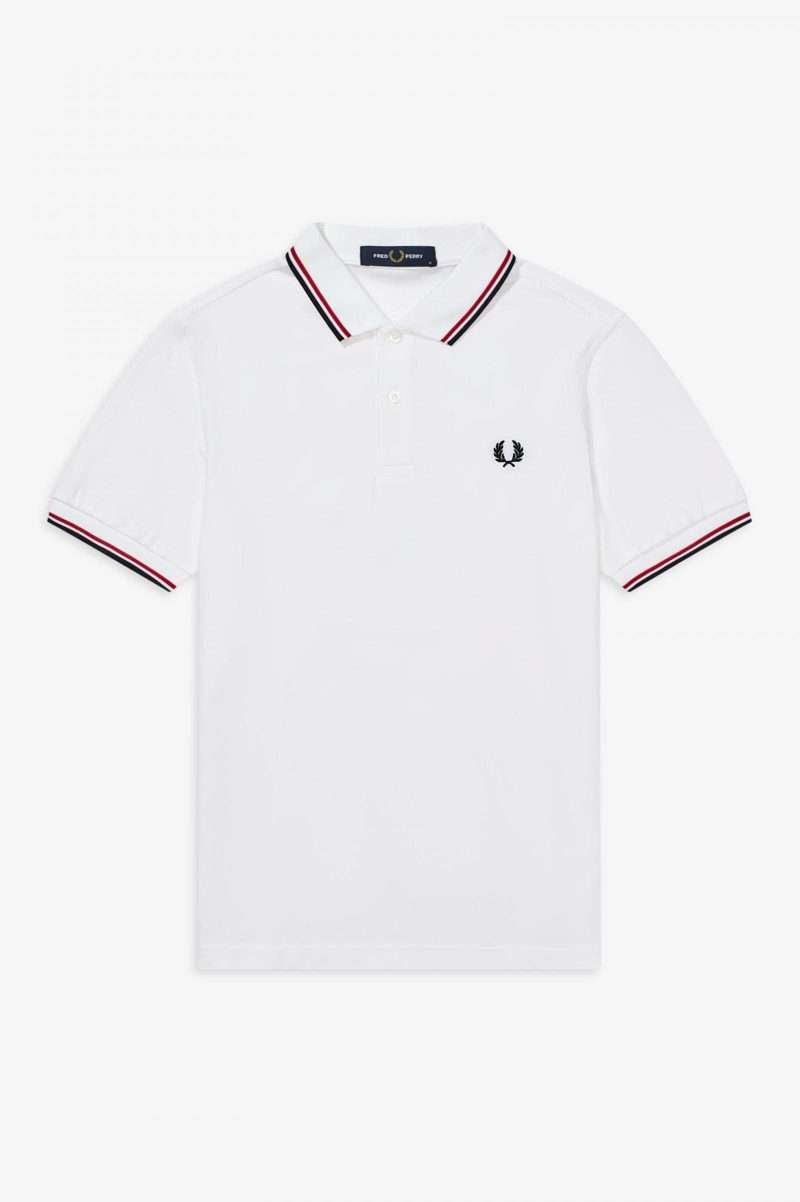 Polo Fred Perry Shirt White Bright Red Navy
