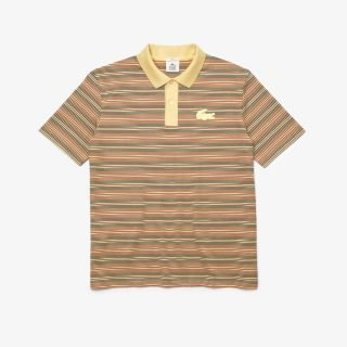 Polo Lacoste LIVE Loose Fit Striped Cotton Polo Shirt Brown White