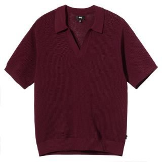 Polo Stussy Cable Mesh SS Polo Maroon