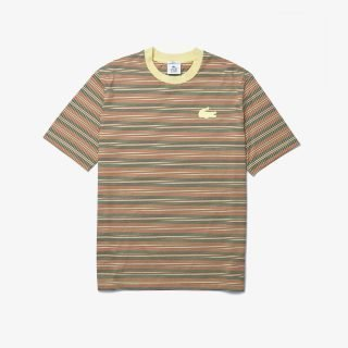Camiseta Lacoste LIVE Loose Fit Crew Neck Striped T-Shirt Brown White