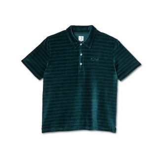 Polo Polar Skate Co. Stripe Velour Polo Shirt Dark Green