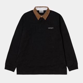 Polo Carhartt WIP L/S Cord Rugby Polo Black H Brown White
