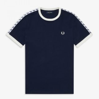 T-Shirt Fred Perry Ringer Tee Carbon Blue Snow White