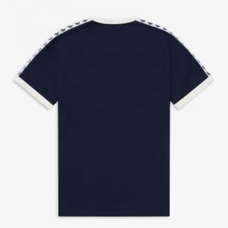 Tee Shirt Fred Perry Ringer Tee Carbon Blue Snow White