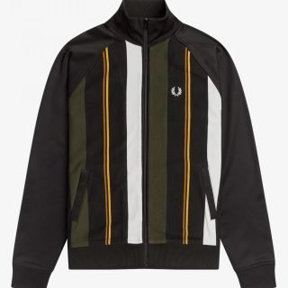 Jacket Fred Perry Knitted Stripe Track Jacket Black