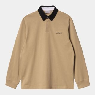 Polo Rugby Carhartt WIP LS Cord Rugby Polo Dusty H Browns Black Black