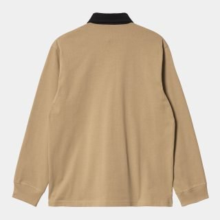Polo Carhartt WIP LS Cord Rugby Polo Dusty H Browns Black Black