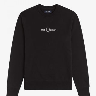 Crew Fred Perry Embroidered Swearshirt Black