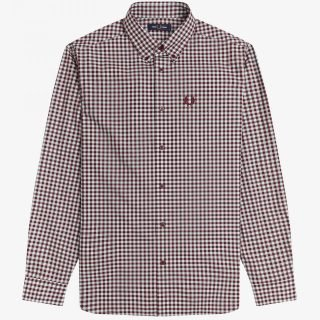 Camisa Fred Perry Long Sleeve Gingham Shirt Aubergine